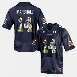 Men's #14 Auburn Tigers Player Pictorial Nick Marshall college Jersey - Navy Blue