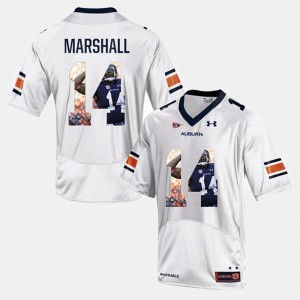 Mens #14 Nick Marshall college Jersey - White Player Pictorial Tigers