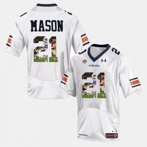 Men's #21 AU Player Pictorial Tre Mason college Jersey - White