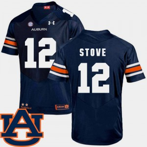 Men's SEC Patch Replica AU #12 Football Eli Stove college Jersey - Navy