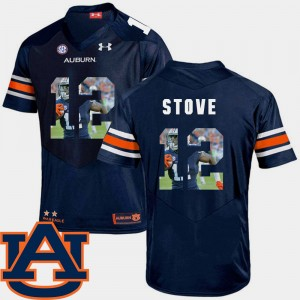 Mens Pictorial Fashion Football Auburn Tigers #12 Eli Stove college Jersey - Navy