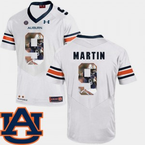 Mens Tigers Pictorial Fashion Football #9 Kam Martin college Jersey - White
