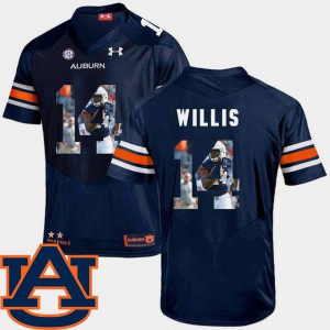 Men's #14 Auburn Tigers Pictorial Fashion Football Malik Willis college Jersey - Navy