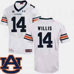 Men Tigers #14 SEC Patch Replica Football Malik Willis college Jersey - White