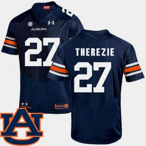 Men Tigers #27 SEC Patch Replica Football Robenson Therezie college Jersey - Navy