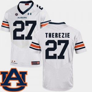 Men's Football AU SEC Patch Replica #27 Robenson Therezie college Jersey - White