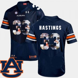 Men Pictorial Fashion Auburn University Football #33 Will Hastings college Jersey - Navy