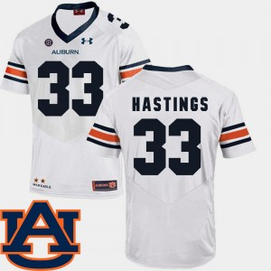 Men Football SEC Patch Replica Tigers #33 Will Hastings college Jersey - White