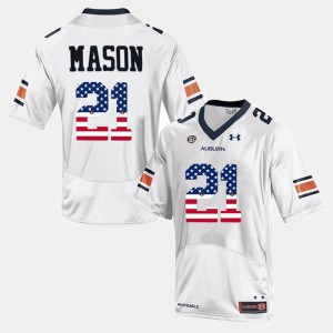 Men Tigers US Flag Fashion #21 Tre Mason college Jersey - White
